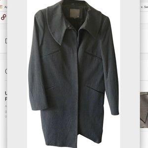 Fendi Thigh-length Black Coat Asymmetric Collar